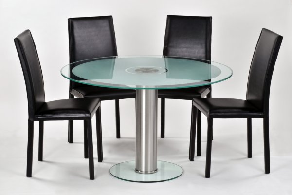 Futureglass Contemporary Glass And Leather Dining Sets